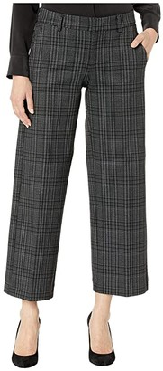 Liverpool Kelsey Stovepipe Trousers in Glen Check Plaid Knit (Black/Grey) Women's Casual Pants