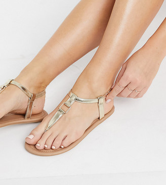 ASOS DESIGN Wide Fit Fulfil hardware flat sandals in gold