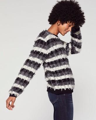 Vince Camuto Striped Eyelash-yarn Sweater