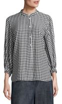 Tibi Gingham Button Front Tunic