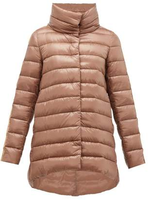 Herno Hooded Velvet-trimmed Quilted Jacket - Womens - Bronze