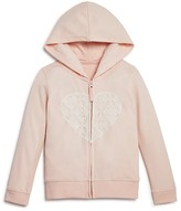 Bloomie's Girls' Lace Heart Zip Up Hoodie - Sizes 2-6X