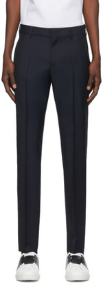Valentino Navy Wool and Mohair Skinny Trousers
