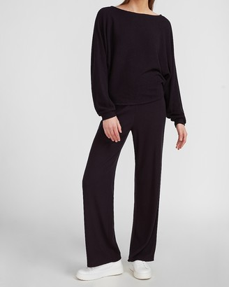 Express High Waisted Soft Ribbed Wide Leg Pant