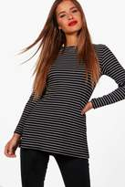 boohoo Petite Jess Side Split Stripe Knitted Top black