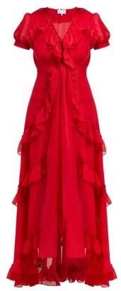 Luisa Beccaria Ruffle-trimmed Chiffon Dress - Womens - Burgundy