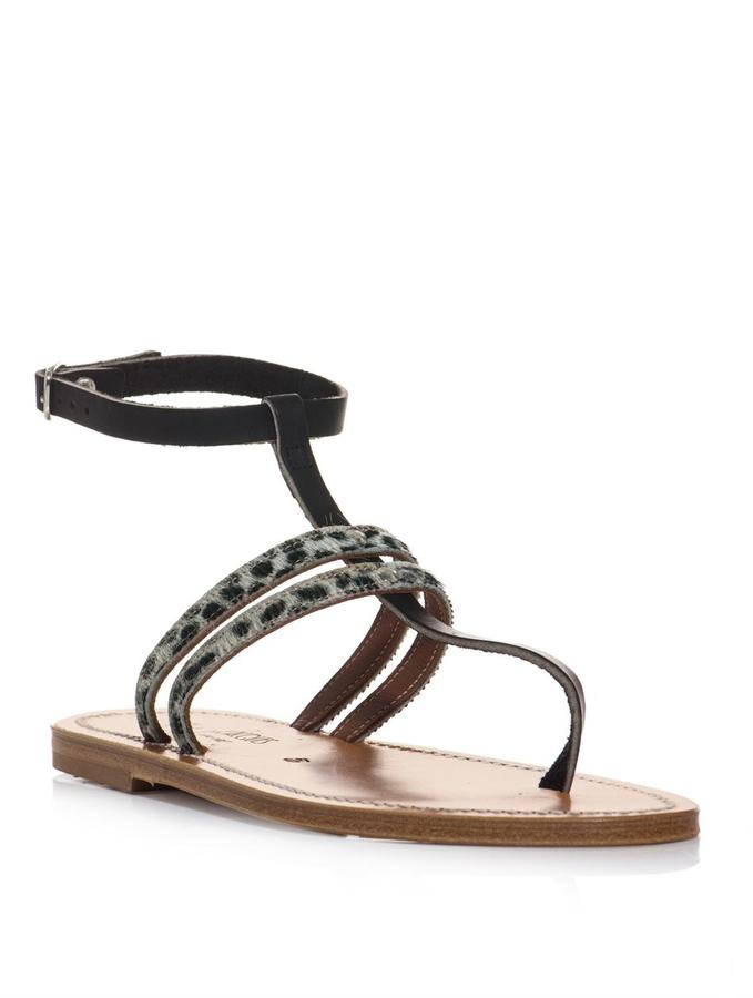 K. Jacques Simple leopard and leather sandals