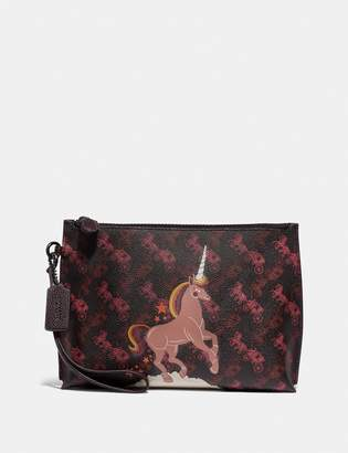 Coach Charlie Pouch With Horse And Carriage Print And Unicorn