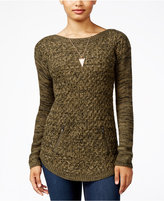 Hooked Up by IOT Juniors' Zip-Trim Tunic Sweater