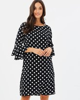 Wallis Spot Flute Sleeve Dress