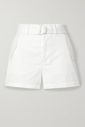 J Brand Evia Surplus Belted Cotton-blend Twill Shorts - White