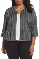 Sejour Plus Size Women's Stripe Peplum Jacket
