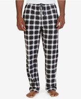 Nautica Men's True Black Plaid Lightweight Sueded Fleece Pajama Pant