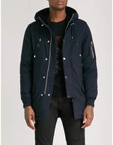 The Kooples Leather-trimmed shell parka coat