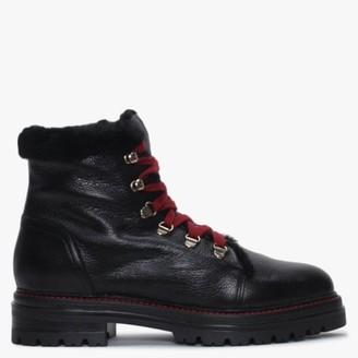 Alba Moda Black Leather Hiker Boots