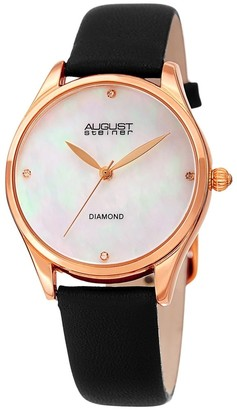 August Steiner Ladies Classic Diamond Black Leather Strap Watch