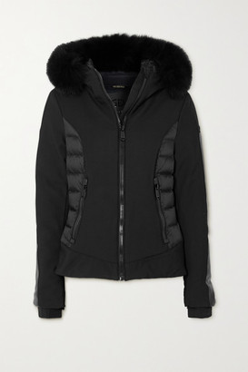 Goldbergh Kaja Hooded Faux Fur-trimmed Paneled Down Ski Jacket - Black