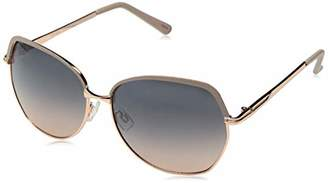 Jessica Simpson Women's J5692 Oversized Two-Tone Metal Geometric Sunglasses with Enamel Brownbar and Tips 100% UV Protection