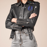 Maje Cropped cowhide leather jacket