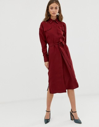 ASOS tie belt shirt dress with seam detail