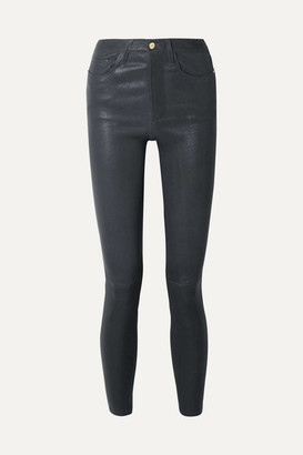 Frame Le High Stretch-leather Skinny Pants - Midnight blue
