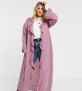 Verona Curve frill front duster jacket in dusty rose-Pink