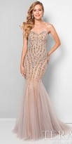 Terani Couture Crystal Embellished Strapless Mermaid Prom Dress