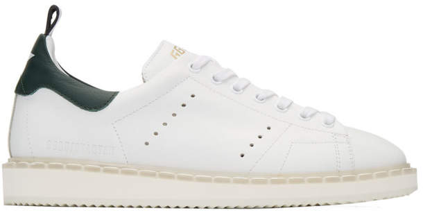 Golden Goose White and Green Starter Sneakers