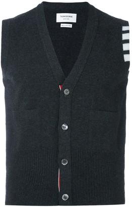 Thom Browne 4-Bar Cashmere Cardigan Vest