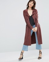 Only Jennifer Faux Suede Trench Coat