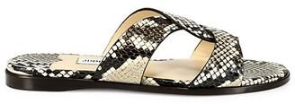 Jimmy Choo Atia Snakeskin-Embossed Leather Slides