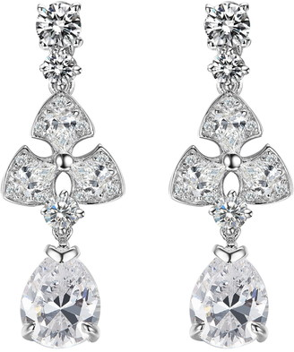 Lafonn Sterling Silver Pear Drop Chandelier Simulated Diamond Earrings