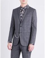 The Kooples Prince Of Wales-check Slim-fit Wool Jacket