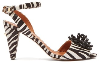 Osman Mae Zebra Calf-hair Sandals - Womens - Black White
