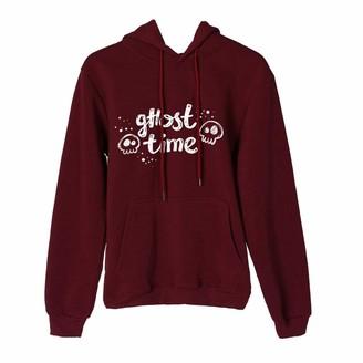 Soonerquicker Oversized Hoodie Women Ladies Long Sleeve Tops Sweatshirts for Teens Girls Printed Hoodies Pullover Hoody Casual Halloween Wine