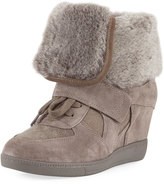 Ash Brendy Wedge Sneaker with Fur Trim, Taupe