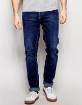 Pull&bear Skinny Jeans In Mid Wash Blue