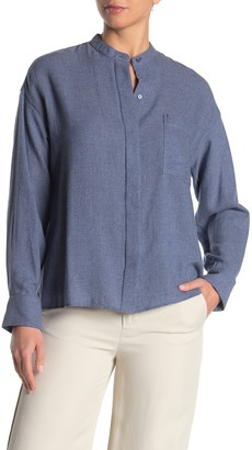 Vince Band Collar Button Down Blouse