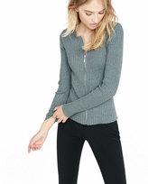 Express Womens Ribbed Zip-Front Cardigan Gray Medium