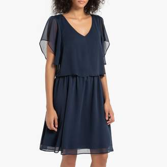 Naf Naf Short Shift Dress with Open Back and Ruffled Short Sleeves