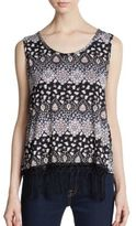 Romeo & Juliet Couture Printed Fringe Flyaway Top