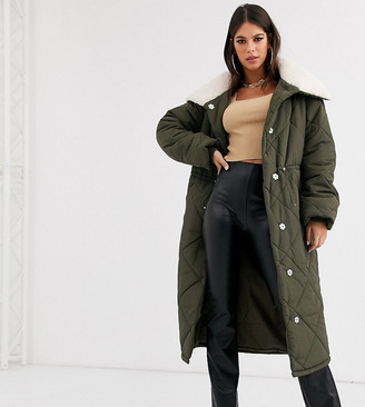 Asos DESIGN Tall quilted maxi puffer coat with borg collar in khaki