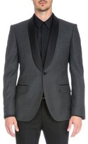 Givenchy Satin-Collar Check Evening Jacket, Gray