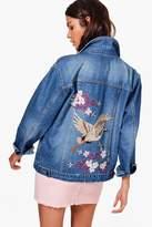 boohoo Clara Oriental Embroidered Denim Jacket mid blue