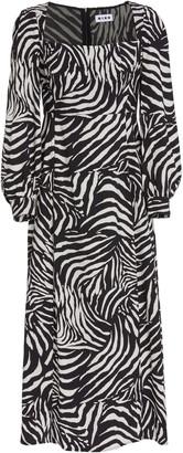 Rixo Mara Zebra-Print Crepe Midi Dress