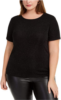 Bar III Trendy Plus Size Textured Sparkle T-Shirt