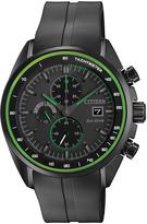 Citizen Green & Black Rubber-Strap Bracelet Watch - Men