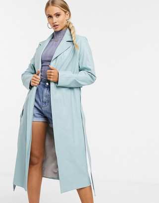 Helene Berman Ruth vinyl long belted coat in blue