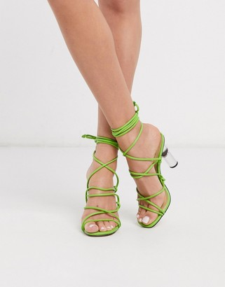 Truffle Collection tie leg heeled sandals with clear heel in lime