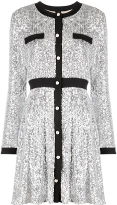 Pinko Round-Neck Sequin Short Dress